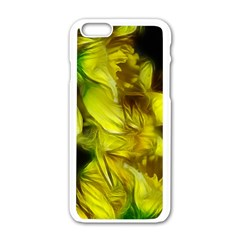 Abstract Yellow Daffodils Apple iPhone 6 White Enamel Case