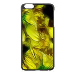 Abstract Yellow Daffodils Apple iPhone 6 Plus Black Enamel Case