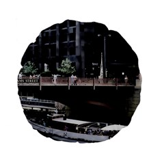 Adams Street Bridge 15  Premium Flano Round Cushion