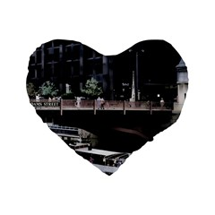 Adams Street Bridge 16  Premium Flano Heart Shape Cushion