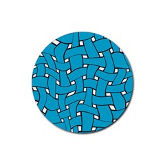 Blue Distorted Weave Rubber Coaster (round)