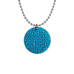 Blue Distorted Weave 1  Button Necklace