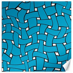 Blue Distorted Weave Canvas 16  X 16