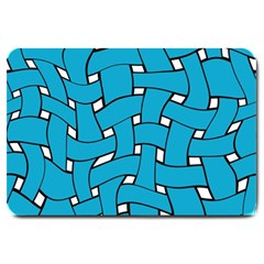 Blue Distorted Weave Large Doormat