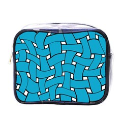 Blue Distorted Weave Mini Toiletries Bag (one Side)