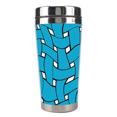 Blue Distorted Weave Stainless Steel Travel Tumbler