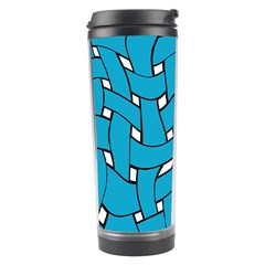 Blue Distorted Weave Travel Tumbler