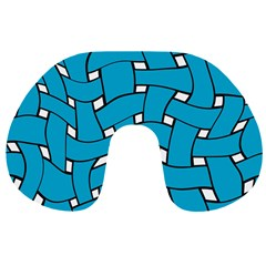 Blue distorted weave Travel Neck Pillow