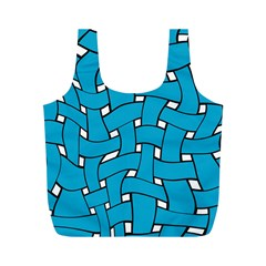 Blue distorted weave Full Print Recycle Bag (M)