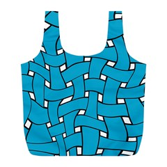 Blue distorted weave Full Print Recycle Bag (L)