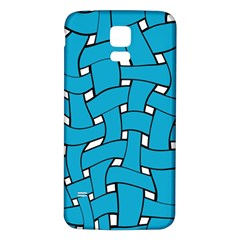 Blue distorted weave Samsung Galaxy S5 Back Case (White)