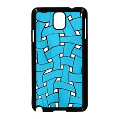 Blue distorted weave Samsung Galaxy Note 3 Neo Hardshell Case (Black)