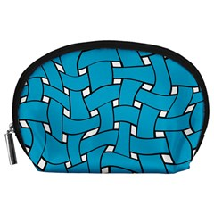 Blue Distorted Weave Accessory Pouch (large)