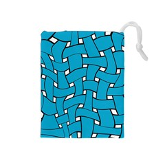 Blue distorted weave Drawstring Pouch (Medium)