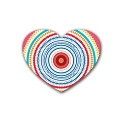 Colorful Round Kaleidoscope Rubber Coaster (heart)