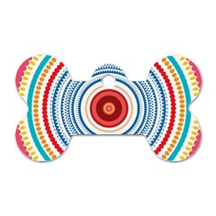 Colorful Round Kaleidoscope Dog Tag Bone (one Side)