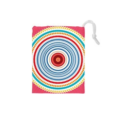 Colorful Round Kaleidoscope Drawstring Pouch (small)
