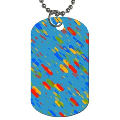 Colorful Shapes On A Blue Background Dog Tag (one Side)