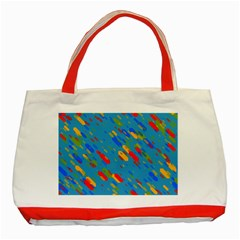 Colorful shapes on a blue background Classic Tote Bag (Red)
