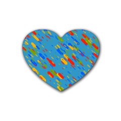 Colorful Shapes On A Blue Background Rubber Coaster (heart)