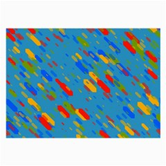 Colorful Shapes On A Blue Background Glasses Cloth (large)
