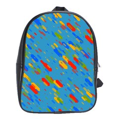 Colorful Shapes On A Blue Background School Bag (large)