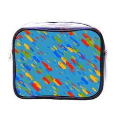 Colorful Shapes On A Blue Background Mini Toiletries Bag (one Side)