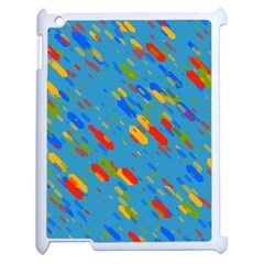Colorful Shapes On A Blue Background Apple Ipad 2 Case (white)