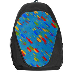 Colorful Shapes On A Blue Background Backpack Bag