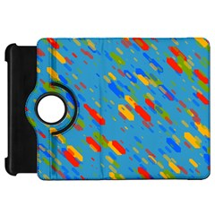 Colorful Shapes On A Blue Background Kindle Fire Hd Flip 360 Case