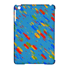Colorful Shapes On A Blue Background Apple Ipad Mini Hardshell Case (compatible With Smart Cover)