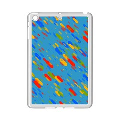 Colorful shapes on a blue background Apple iPad Mini 2 Case (White)