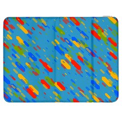 Colorful shapes on a blue background Samsung Galaxy Tab 7  P1000 Flip Case