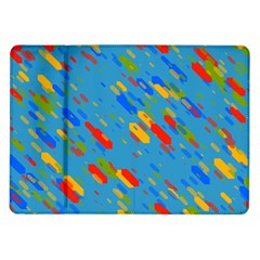 Colorful shapes on a blue background Samsung Galaxy Tab 10.1  P7500 Flip Case