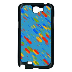 Colorful shapes on a blue background Samsung Galaxy Note 2 Case (Black)