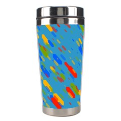Colorful Shapes On A Blue Background Stainless Steel Travel Tumbler