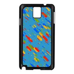 Colorful shapes on a blue background Samsung Galaxy Note 3 N9005 Case (Black)