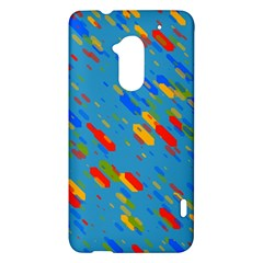 Colorful shapes on a blue background HTC One Max (T6) Hardshell Case