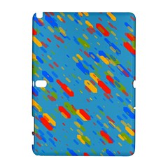Colorful Shapes On A Blue Background Samsung Galaxy Note 10 1 (p600) Hardshell Case