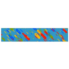 Colorful shapes on a blue background Flano Scarf (Small)