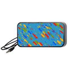 Colorful shapes on a blue background Portable Speaker (Black)