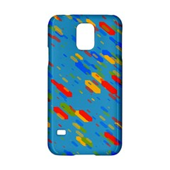 Colorful Shapes On A Blue Background Samsung Galaxy S5 Hardshell Case