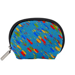 Colorful shapes on a blue background Accessory Pouch (Small)