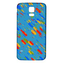 Colorful shapes on a blue background Samsung Galaxy S5 Back Case (White)