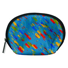 Colorful shapes on a blue background Accessory Pouch (Medium)