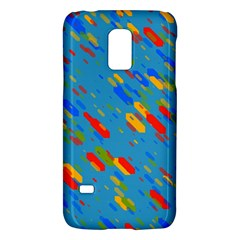 Colorful shapes on a blue background Samsung Galaxy S5 Mini Hardshell Case