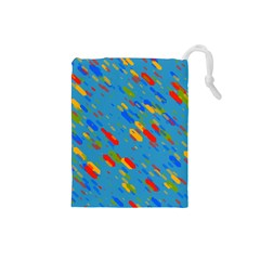 Colorful shapes on a blue background Drawstring Pouch (Small)