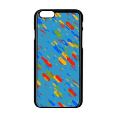 Colorful shapes on a blue background Apple iPhone 6 Black Enamel Case
