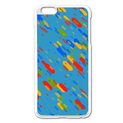 Colorful Shapes On A Blue Background Apple Iphone 6 Plus Enamel White Case
