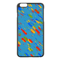 Colorful shapes on a blue background Apple iPhone 6 Plus Black Enamel Case